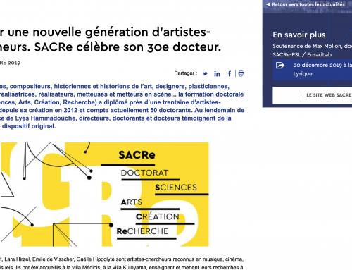 16/12/19 – Former une nouvelle génération d'artistes-chercheurs. SACRe célèbre son 30e docteur.